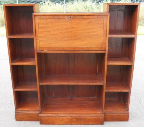 Mahogany Narrow Open Breakfront Bureau Bookcase